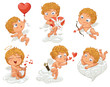 Cupid flying in a balloon in the shape of heart, shoots bow
