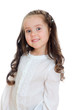 Portrait of smiling little girl. Isolated on white