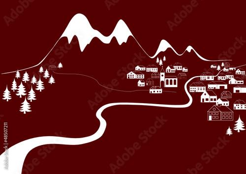 Bergdorf vor verschneiten Bergen