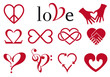 abstract heart designs, vector set