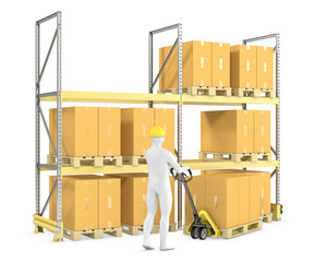 Worker moves boxes with pallet truck