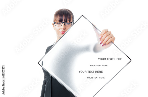 Formal business woman with signboard, space for text