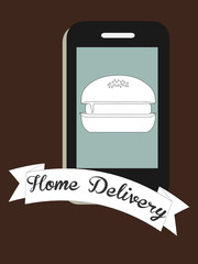 Home delivery of fast food illustration