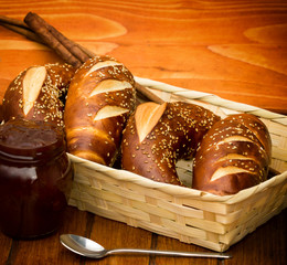 Bavarian roll and jam on the table