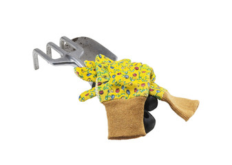 ready to plant the flowers-claw,rake,gloves, isolated