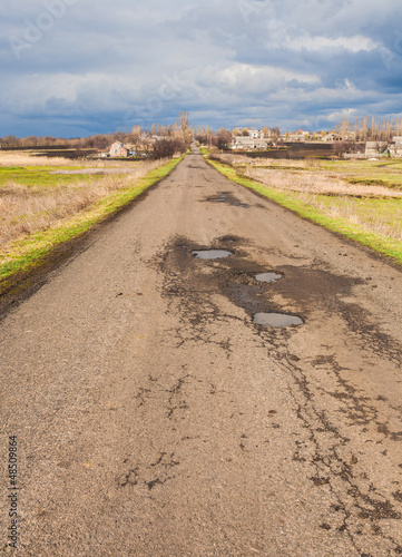 Narrow country road in the Ukraine