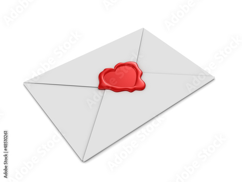 3d render of an envelope with heart