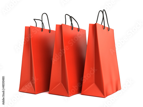 3d render of red shopping bags
