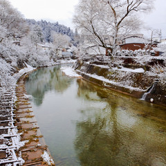 Miyagawa River Surrounded with Snow