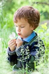 Portrait of boy sitting on grass in park