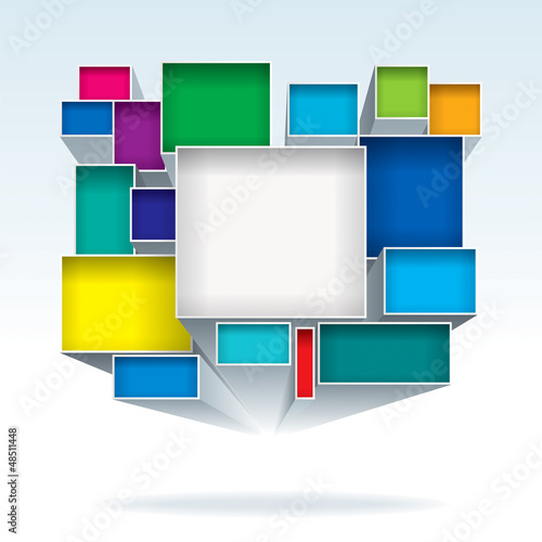 Abstract 3D color boxes background.