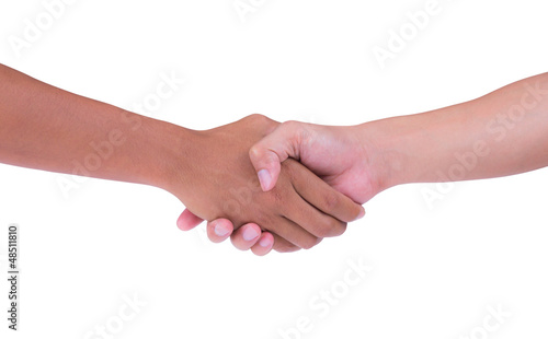 shaking hand of black and white isolated