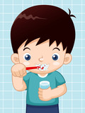 illustration of Boy brushing his teeth