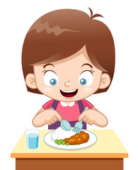 illustration of Cartoon Girl eating