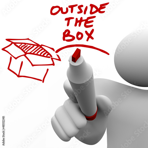 Outside the Box Man Writing Words Marker