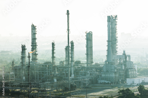 oil refinery plant and fog at morning