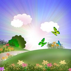 Summer landscape. illustration