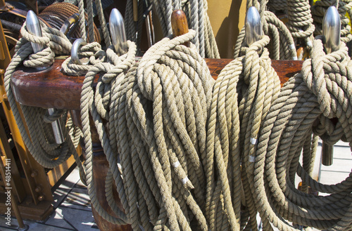 Rigging  on vintage tall sail boat