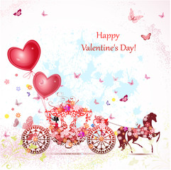 girl in a carriage with valentines
