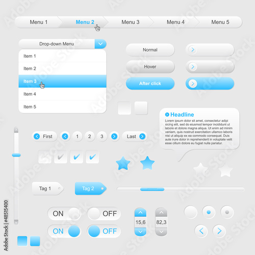 Set of web gray/blue elements - vector file