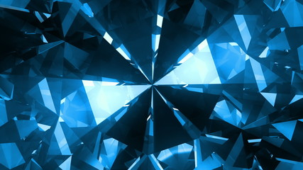 Big blue spinning gem - loopable 3d animation