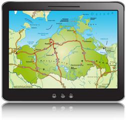 Landkarte von Mecklenburg-Vorpommern als Navigationsgerät