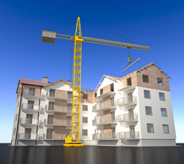 New apartments building - with crane
