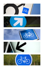 Signe, picto, vélo, piste, cyclable, flèche, code, route