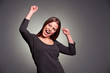 happy excited woman dancing