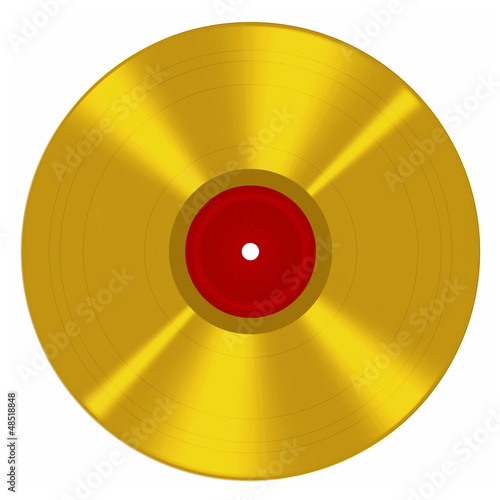 Gold disc - music award style, isolated over white background