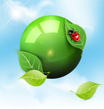 vector green globe with leaves and ladybug against the blue sky