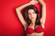Beautiful woman sexy portrait with red underwear.