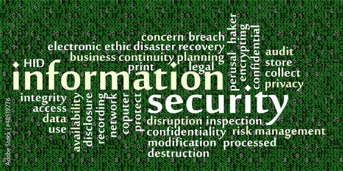 Information security word cloud with data background