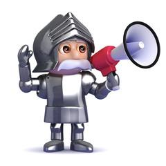 Knight shouts through a megaphone