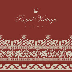 Vintage Floral border.  Retro design elements collection