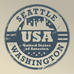 Stamp with name of Washington, Seattle, vector illustration