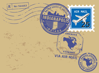 Post stamps set with name of Indiana, Indianapolis, vector