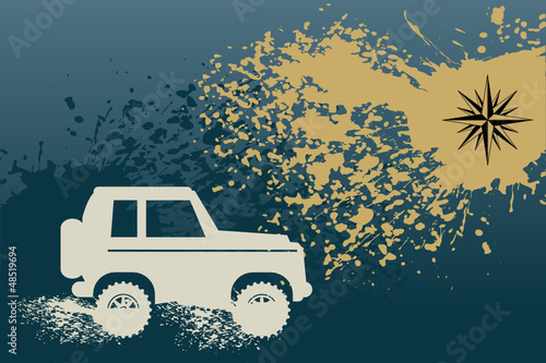 Off Road Car abstract, vector illustration