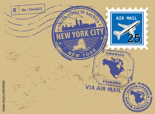 Post stamps set with name of New York, New York City, vector