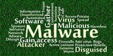 Malware word cloud with data background poster