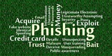 Phishing word cloud with data background poster