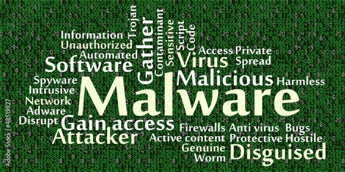 Malware word cloud with data background