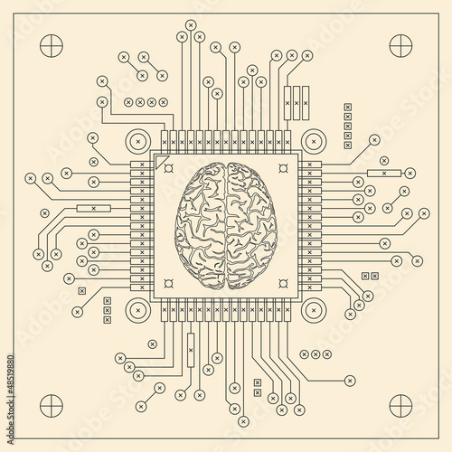 Computer microprocessor with brain symbol.