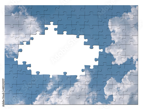 Imagine or blue sky business solution concept - jigsaw
