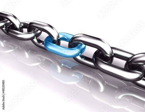 3d social network protection chain blue link illustration