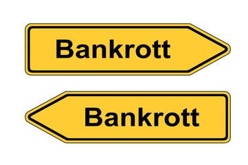 Umleitungsschild - Bankrott
