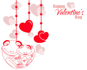 Valentine Frog Couple Hearts Background