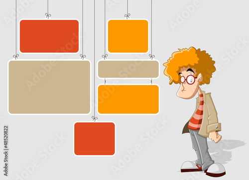 Colorful template with cartoon redhead man