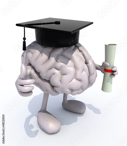 human brain with arms and legs, Graduation Cap and Diploma
