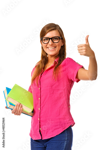 Girl with pile book showing thumb up.